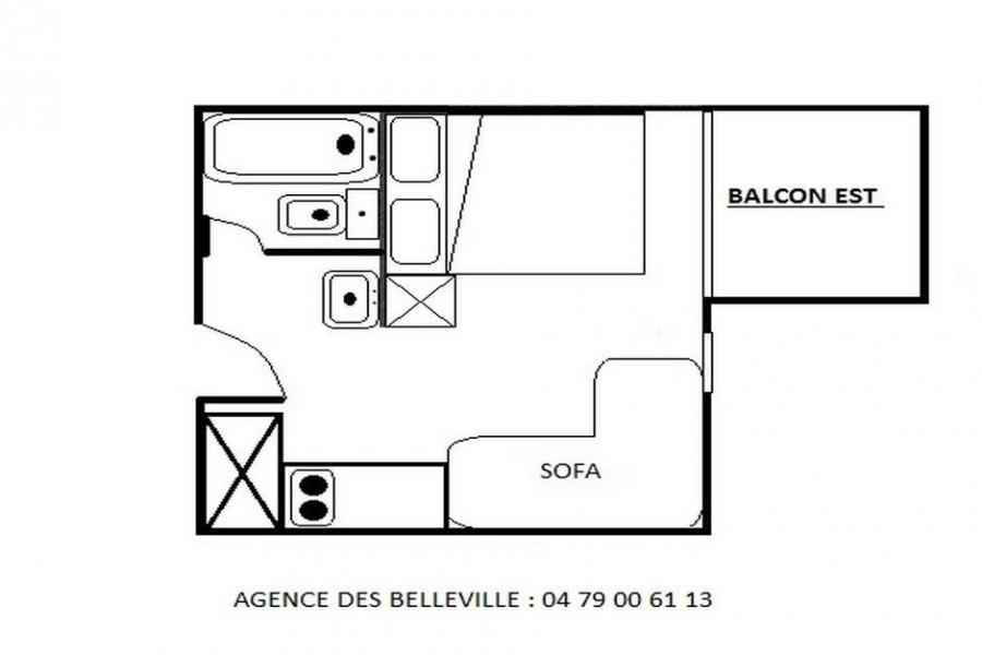 Wynajem na narty Studio z alkową 2 osoby (409) - La Résidence les Gentianes - Les Menuires