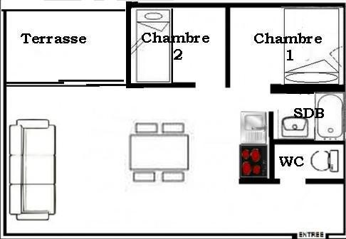 Soggiorno sugli sci Appartamento 3 stanze per 6 persone (2104) - La Résidence Ski Soleil - Les Menuires - Mappa