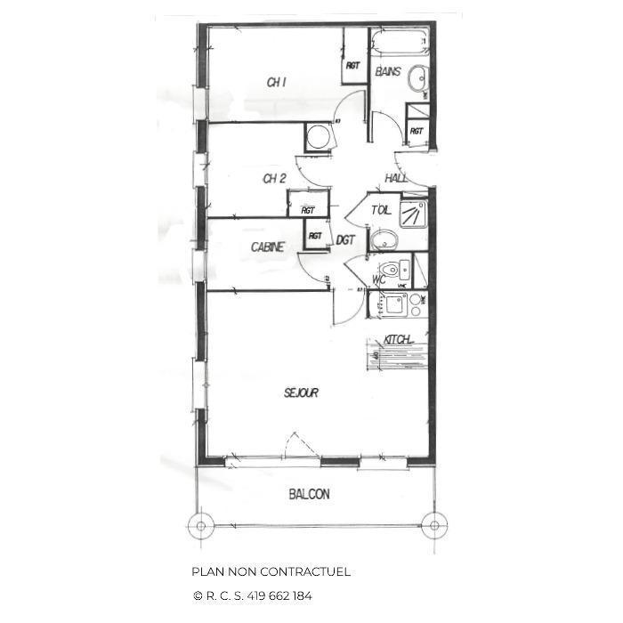 Skiverleih 4 Zimmer Appartement für 6-8 Personen (311) - Les Côtes d'Or Chalet Courmayeur - Les Menuires