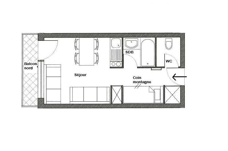 Location au ski Residence Boedette - Les Menuires - Plan