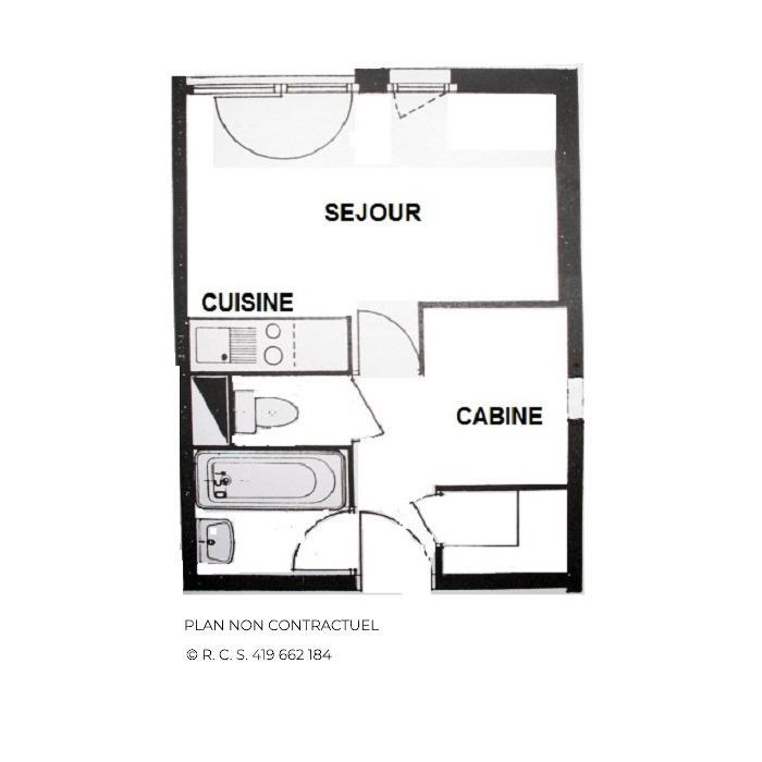 Location au ski Studio cabine 4 personnes (106) - Résidence Gentianes - Les Menuires - Plan