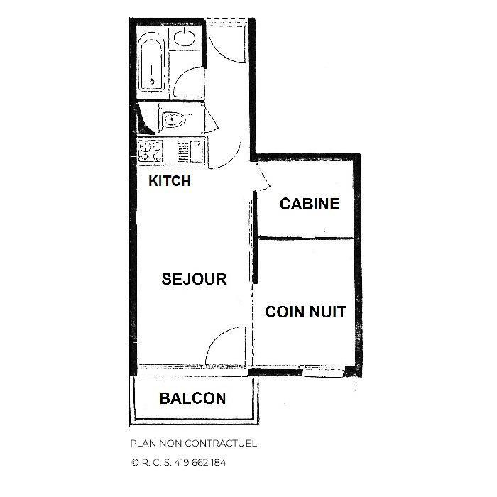 Location au ski Studio cabine 4 personnes (322) - Résidence le Villaret - Les Menuires - Plan