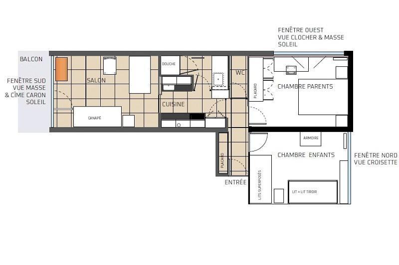 Location au ski Appartement 3 pièces 6 personnes (801) - Résidence les Alpages - Les Menuires - Plan