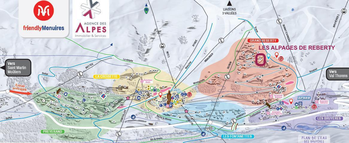 Location au ski Résidence les Alpages de Reberty - Les Menuires - Extérieur hiver