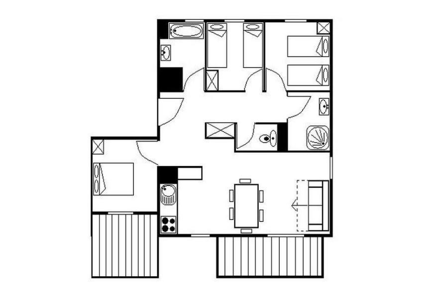 Location au ski Appartement 4 pièces 8 personnes (23) - Résidence les Cristaux - Les Menuires