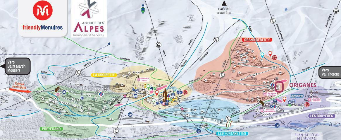 Location au ski Résidence les Origanes - Les Menuires - Plan