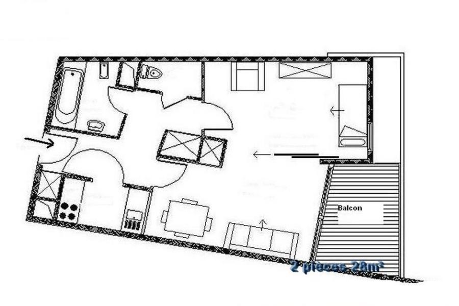 Wynajem na narty Apartament 2 pokojowy 4 osób (204) - Résidence les Soldanelles A - Les Menuires - Plan