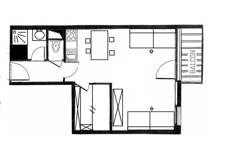 Location au ski Studio cabine 4 personnes (305) - Résidence Villaret - Les Menuires - Séjour
