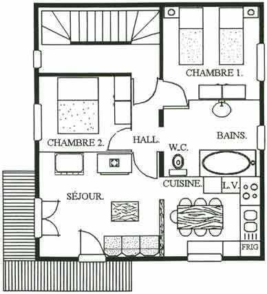 Location au ski Appartement 3 pièces 4-6 personnes - Chalet le Chamois - Les Menuires - Plan