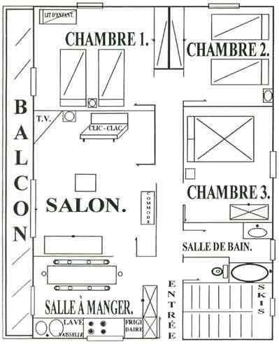 Location au ski Appartement 5 pièces 8 personnes - Chalet le Génépi - Les Menuires - Plan