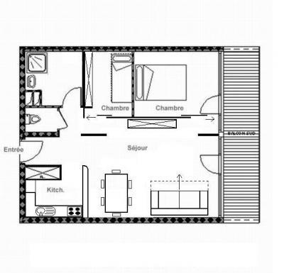 Rent in ski resort 3 room apartment 6 people (607) - La Résidence Burons - Les Menuires - Plan