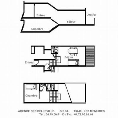 Location au ski Appartement duplex 2 pièces 5 personnes (612) - La Residence Cote Brune - Les Menuires