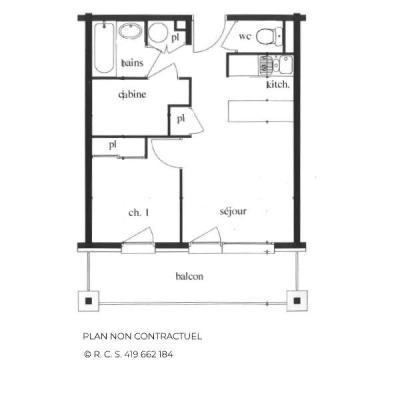Location au ski Appartement 2 pièces cabine 4-6 personnes (102) - Les Côtes d'Or Chalet Argentière - Les Menuires