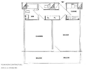 Location au ski Appartement 2 pièces 4 personnes (719) - Résidence Aravis - Les Menuires - Plan