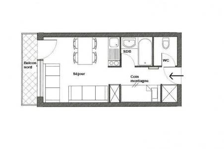 Location au ski Studio 4 personnes (517) - Residence Boedette - Les Menuires - Plan