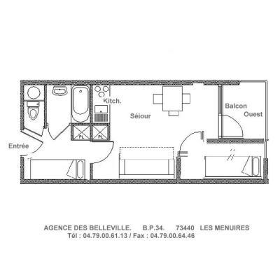 Location au ski Studio cabine 4 personnes (081) - Residence Carlines Ii - Les Menuires - Plan