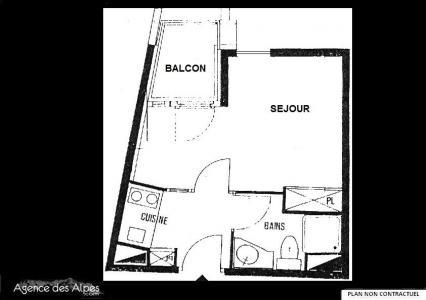 Location au ski Studio 3 personnes (70) - Residence L'armoise - Les Menuires - Plan