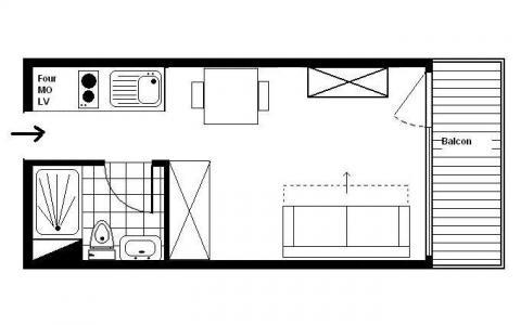 Location au ski Studio 2 personnes (056) - Residence L'oisans - Les Menuires - Plan