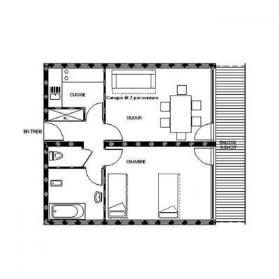 Location au ski Appartement 2 pièces 6 personnes (38) - Residence La Vanoise - Les Menuires - Plan