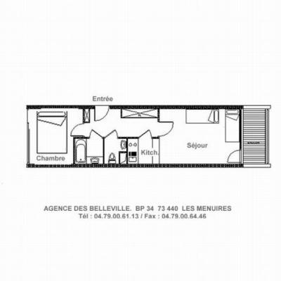 Rent in ski resort 2 room apartment 5 people (LC0112) - Résidence le Lac du Lou - Les Menuires - Plan