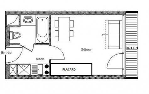 Rent in ski resort Studio 2 people (LC0039) - Résidence le Lac du Lou - Les Menuires - Plan