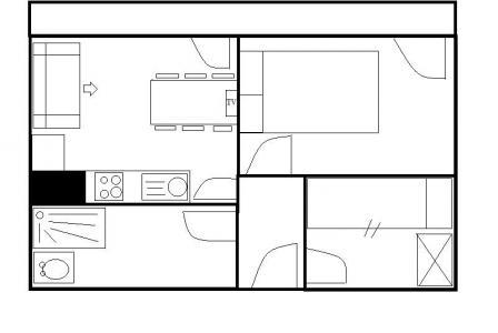 Rent in ski resort 2 room apartment cabin 5 people (538) - Résidence le Lac du Lou - Les Menuires