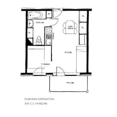 Location au ski Appartement 2 pièces 4 personnes (611) - Résidence le Nécou - Les Menuires - Plan