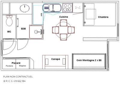 Location au ski Studio coin montagne 4 personnes (2508) - Résidence le Ski Soleil - Les Menuires - Plan