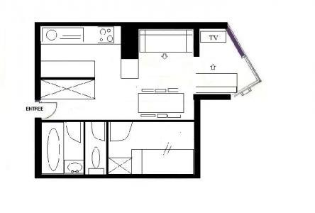 Location au ski Appartement 2 pièces cabine 6 personnes (211) - Residence Le Sorbier - Les Menuires