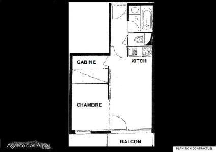 Location au ski Studio cabine 4 personnes (106) - Residence Le Villaret - Les Menuires - Plan