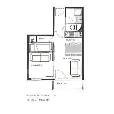 Location au ski Studio 2 cabines 4 personnes (205) - Résidence le Villaret - Les Menuires - Plan