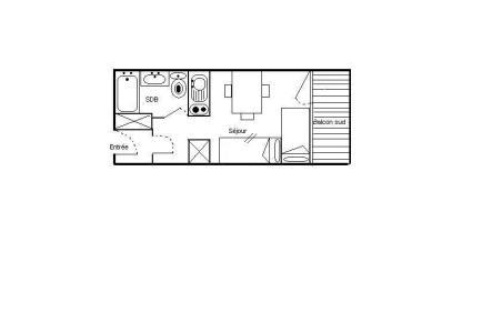 Location au ski Studio 2 personnes (724) - Residence Les Asters B2 - Les Menuires - Plan