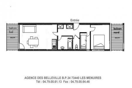 Rent in ski resort 2 room apartment 4 people (214) - Résidence les Charmettes - Les Menuires