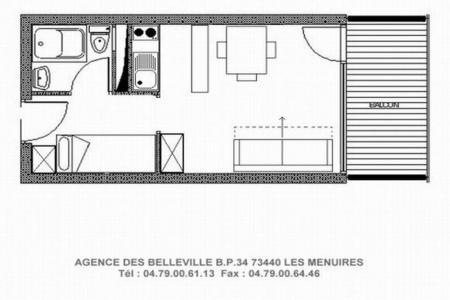 Rent in ski resort Studio 3 people (512) - Résidence les Charmettes - Les Menuires