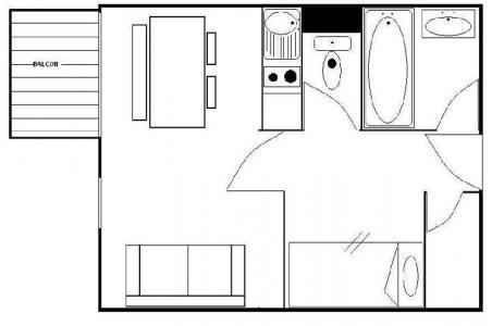 Location au ski Studio cabine 4 personnes (110) - Residence Les Gentianes - Les Menuires - Plan