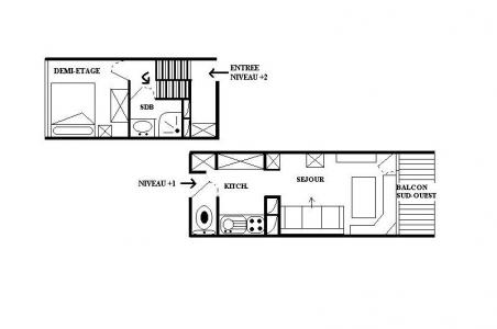 Location au ski Appartement 2 pièces 4 personnes (8) - Residence Les Lauzes - Les Menuires - Plan