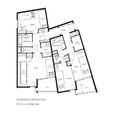 Location au ski Appartement 3 pièces 10 personnes - Résidence les Origanes - Les Menuires - Plan