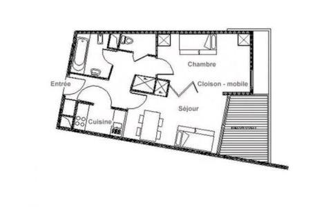 Location au ski Appartement divisible 2 pièces 4 personnes (212) - Résidence les Soldanelles B - Les Menuires - Plan