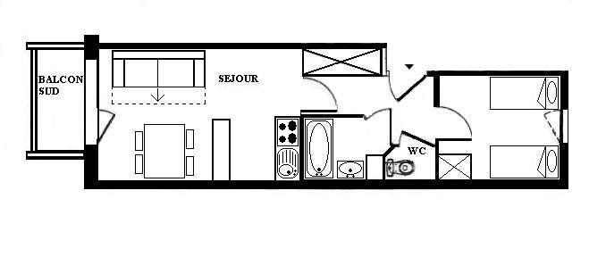 Аренда на лыжном курорте Апартаменты 2 комнат 4 чел. (1216) - Résidence les Valmonts - Les Menuires - план