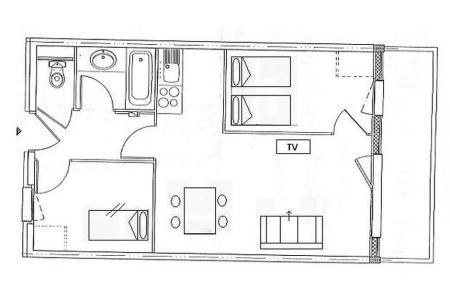 Аренда на лыжном курорте Апартаменты 3 комнат 6 чел. (504) - Résidence les Valmonts - Les Menuires - план