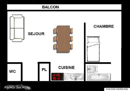 Location au ski Appartement 2 pièces 5 personnes (53) - Résidence Oisans - Les Menuires - Plan