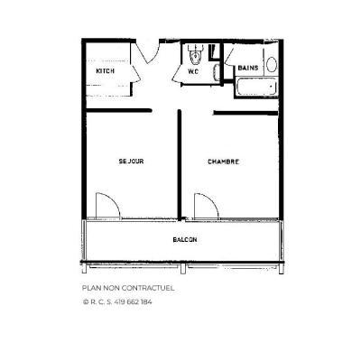 Location au ski Appartement 2 pièces 6 personnes (118) - Résidence Vanoise - Les Menuires - Plan