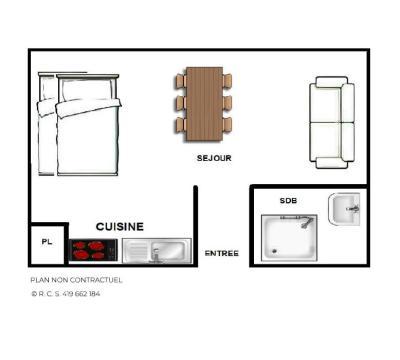 Location au ski Studio 4 personnes (13) - Résidence Vanoise - Les Menuires - Plan