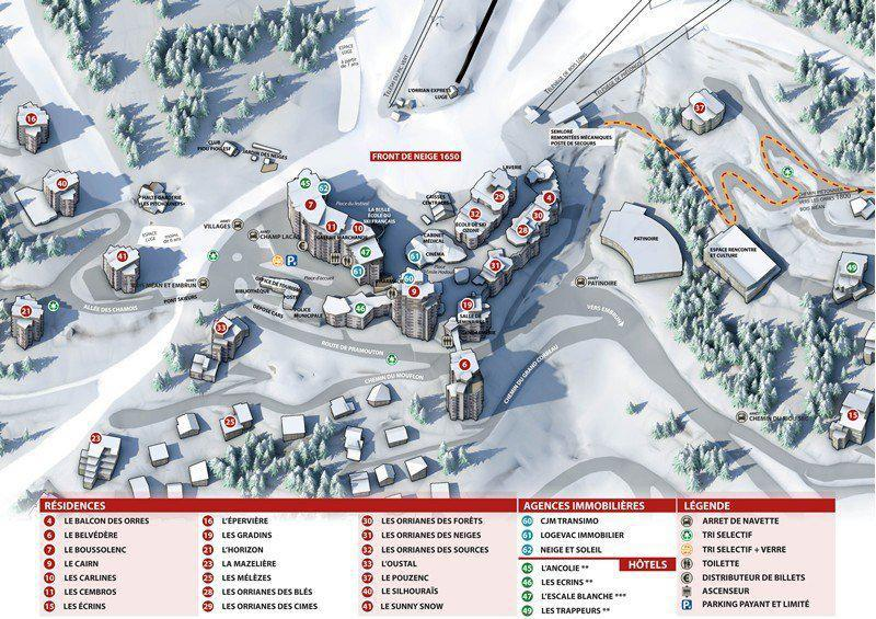 Location au ski Résidence le Silhourais - Les Orres - Plan