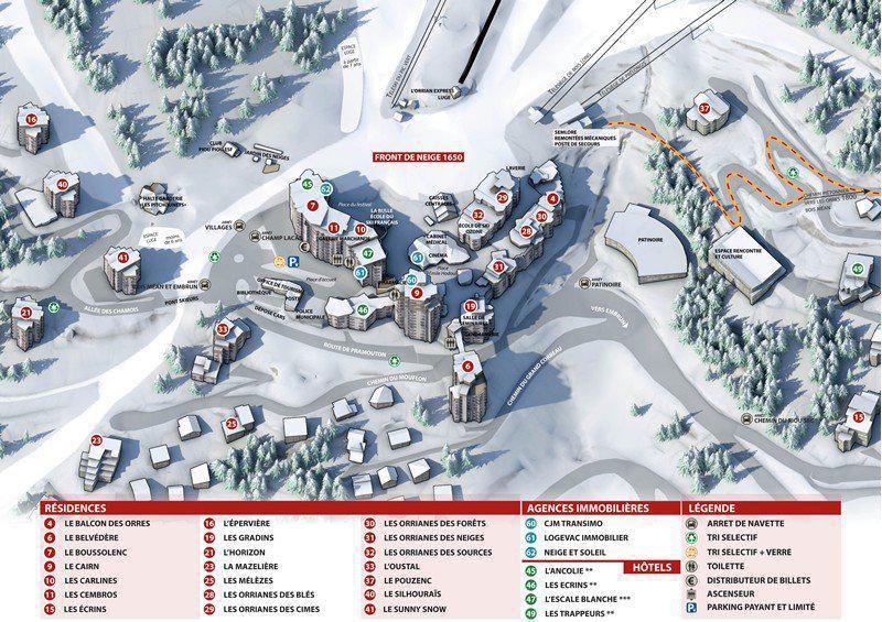 Location au ski Appartement 2 pièces 6 personnes (334) - Résidence le Silhourais - Les Orres - Plan