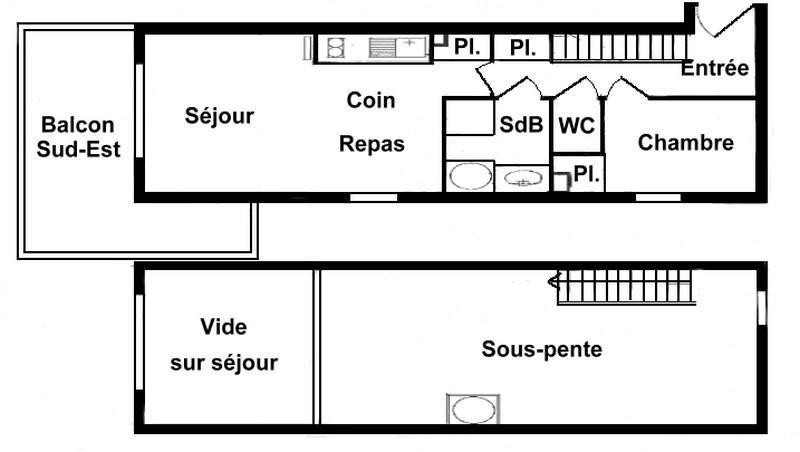 Alquiler al esquí Apartamento 2 piezas mezzanine para 6 personas (215) - Chalet Cristal 2 - Les Saisies - Plano