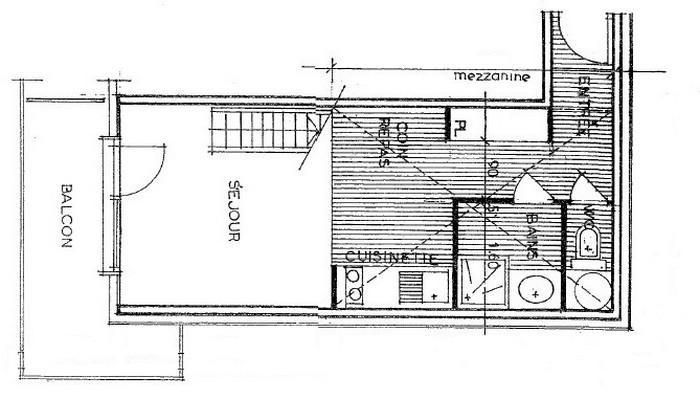 Location au ski Studio mezzanine 5 personnes (011) - Résidence Arvire - Les Saisies - Plan