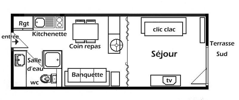 Location au ski Studio 4 personnes (009) - Résidence Bisanne - Les Saisies - Plan