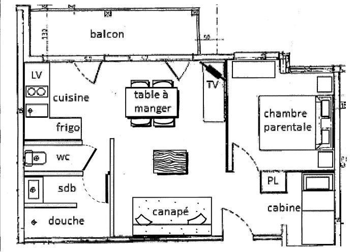 Location au ski Appartement 2 pièces cabine 6 personnes (035) - Résidence le Tavaillon - Les Saisies - Plan