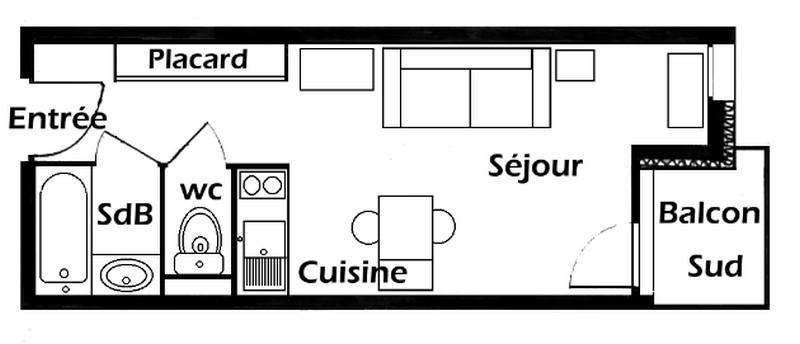 Location au ski Studio 3 personnes (019) - Résidence le Tavaillon - Les Saisies - Plan